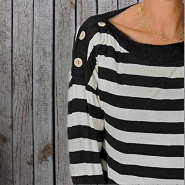 Pretty Striped Button Long-sleeve Tee