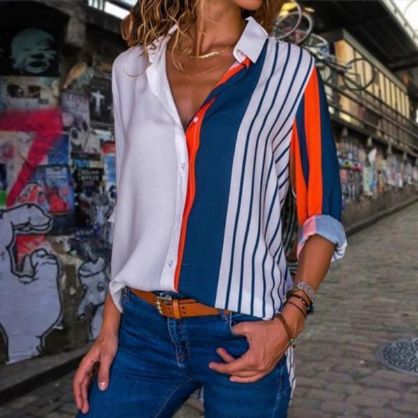 Chic Stripe Print Color Contrast Blouse