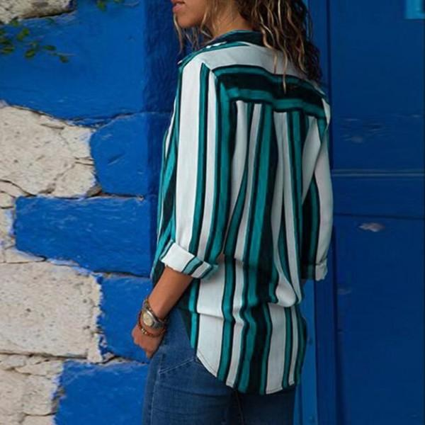 Chic Stripe Print Color Contrast Blouse
