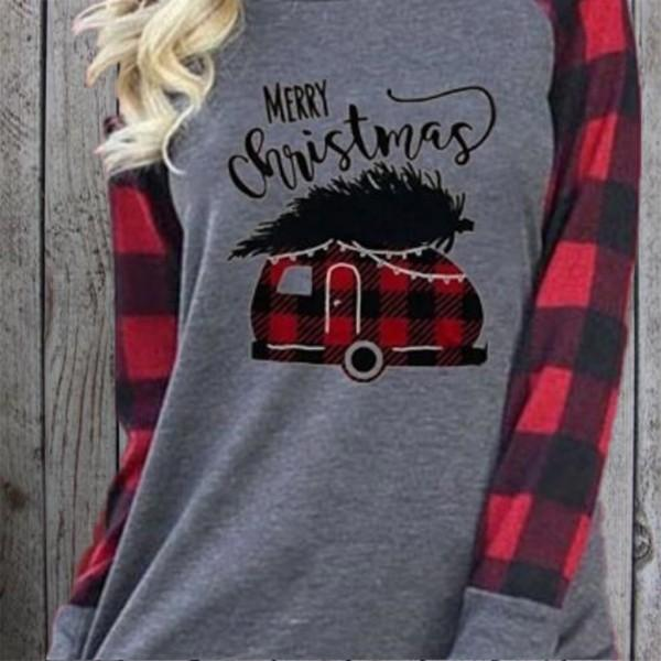 Trendy Christmas Plaid Long-sleeve Tee