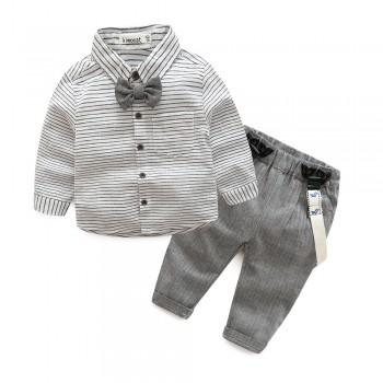 Handsome Striped Bow Tie Shirt and Suspender Pants Set for Baby Boy