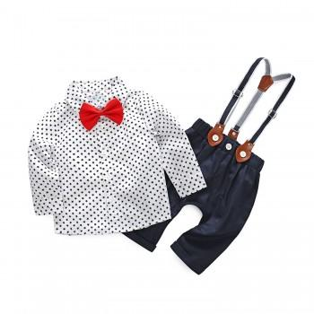Graceful Star Pattern Shirt and Straps Pants Set for Baby Boy