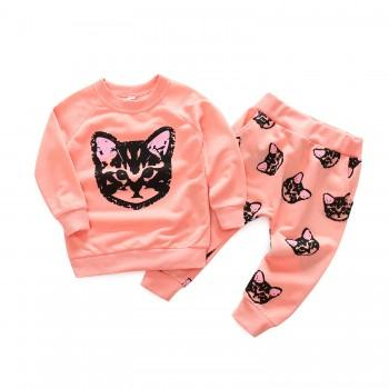2-piece Cat Print Long-sleeve Top and Pants for Baby Girl/Girl