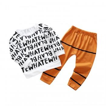 Sweet Letter Print Long-sleeve Top and Printed Pants Set for Baby