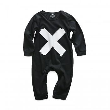 Cool Cross Print Long-sleeve Jumpsuit in Blcak for Baby Boy