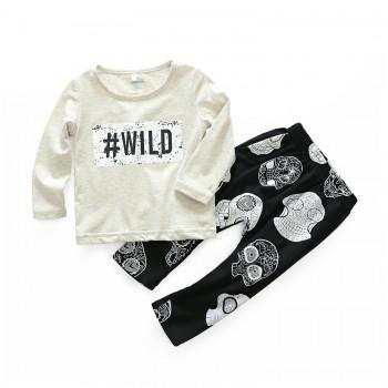 2-piece WILD Long-sleeve Top and Skull Print Pants for Baby Boy