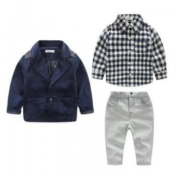3-piece Cool Lapel Coat Plaid Long-sleeve Shirt and Pants for Boys