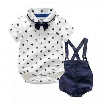 2-piece Graceful Printed Short Sleeve Shirt and Strap Shorts for Baby Boy