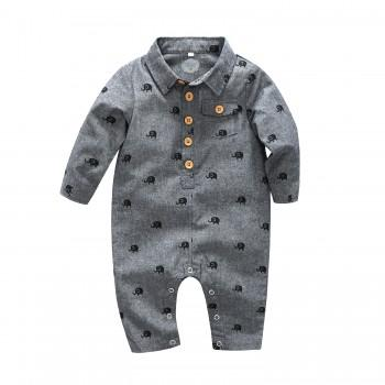 Cute Elephant Print Long Sleeves Jumpsuit for Baby Boy
