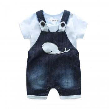 2-piece Cute Appliqued Whale Overall and Bodysuit Set for Baby Boy