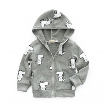 Lovely Hippo Print Hooded Jacket for Baby Boy
