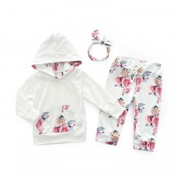 3-piece Pretty Floral Long Sleeve Hooded T-shirt,Pants and Headband Set for Baby Girl