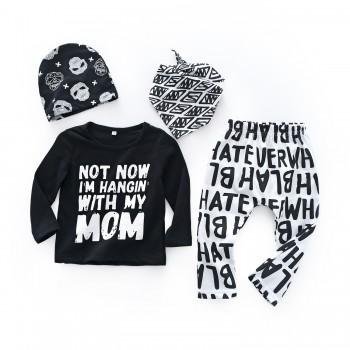 4-piece Comfy Letter Tee and Pants Geo Print Scarf and Hat Set for Baby Boy