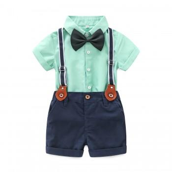 3-piece Solid Shirt Strap Shorts and Bow Tie Set for Baby Boy