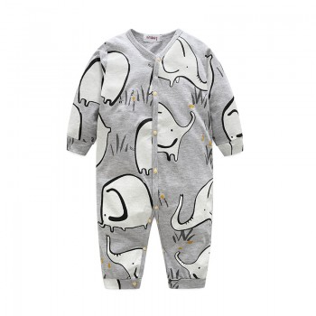Lovely Elephant Pattern Long-sleeve Jumpsuit for Baby Boy