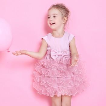 Toddler Girl's Sweet Layered Princess Dress in Pink
