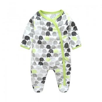 Cute Elephants Footed Snap-up Long-sleeve Jumpsuit for Baby Boy