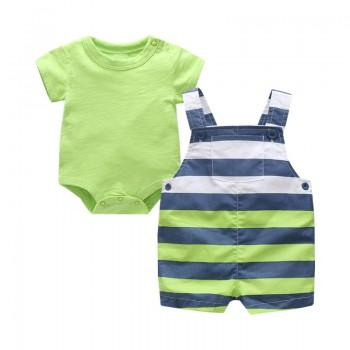 2-piece Solid Bodysuit and Stripes Overall in Green for Baby