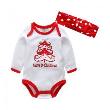 Baby's First Christmas Bodysuit and Bow Headband
