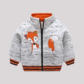 Trendy Fox Applique Long-sleeve Coat for Baby