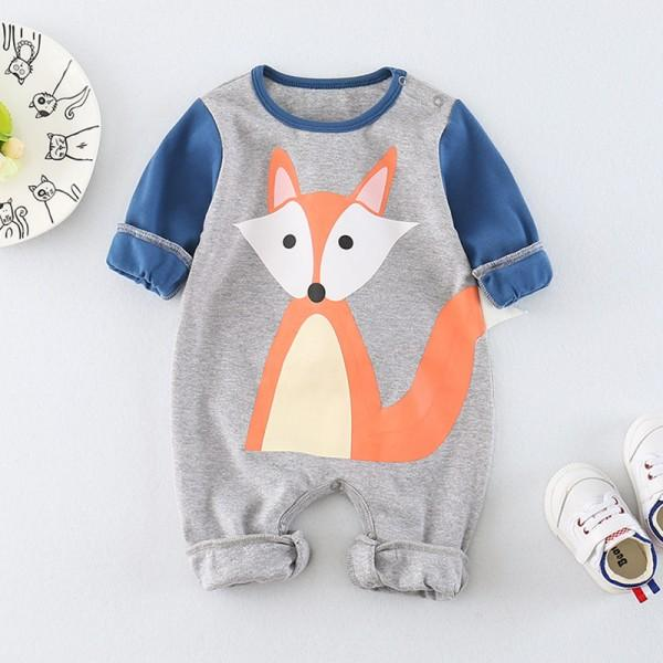 Lovely Color-blocking Fox Print Long-sleeve Jumpsuit in Grey for Baby Boy