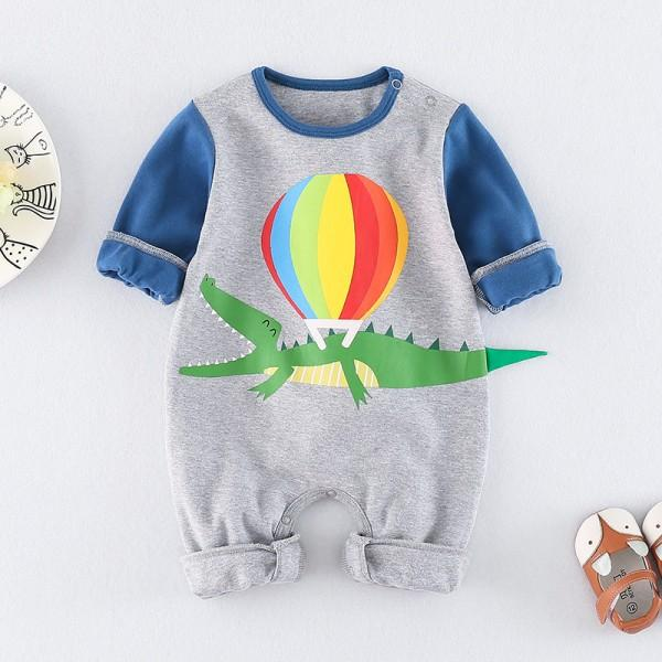 Cute Crocodile and Balloon Print Jumpsuit for Baby Boy