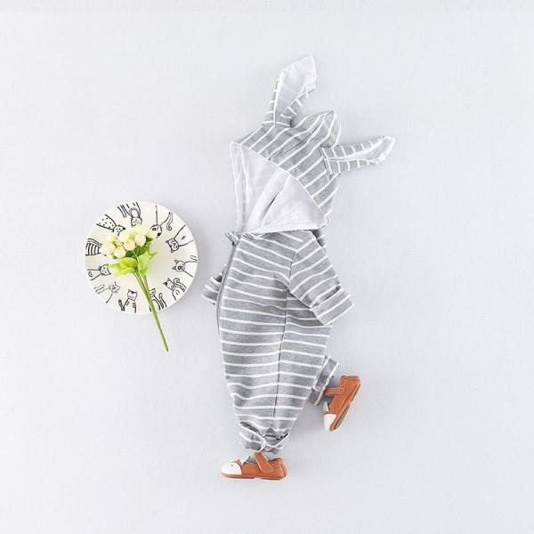Adorable Rabbit Striped Hooded Jumpsuit for Baby