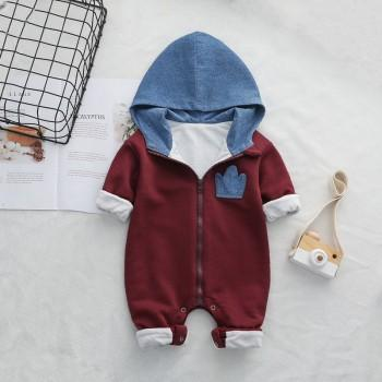 Baby's Trendy Solid Long-sleeve Hooded Jumpsuit