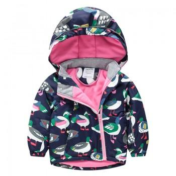 Cool Duck Print Hooded Jacket for Baby and Toddler Girl