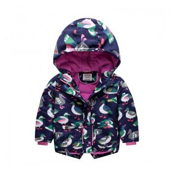 Comfy Bird Pattern Quilted Hooded Coat for Girls