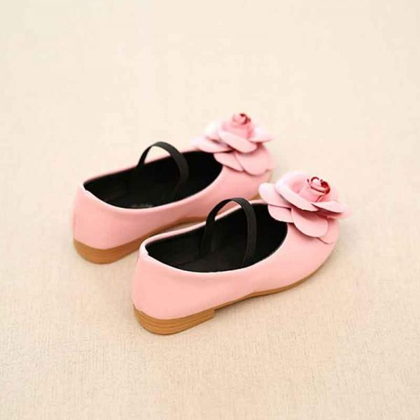 Sweet Floral Accented Leather Flats for Toddler Girl/Girl
