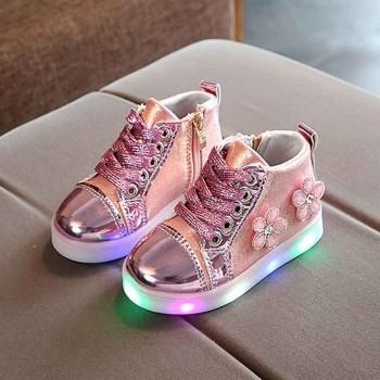 Pretty Floral Decor Glitter LED Shoes for Toddler Girl and Girls