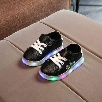Fresh Lace-up Velcro LED Shoes for Kid