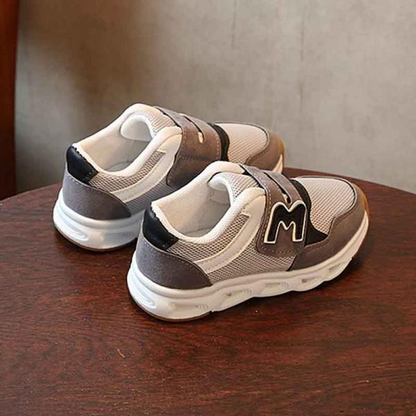 Stylish Appliqued M Mesh LED Velcro Shoes for Toddler and Kid