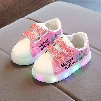 Pretty Letter and Floral Print LED Sneakers for Toddler Girl