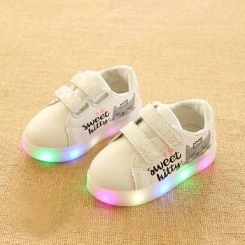 Cute Cat Print Velcro LED Light Shoes for Toddler Girl and Girl