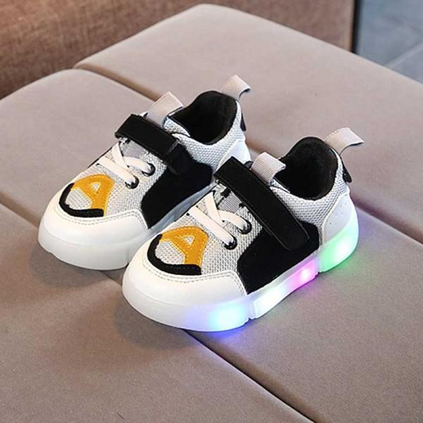 Stylish Color-blocking LED Velcro Sneakers for Toddler Boy and Boy