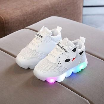 Stylish Cartoon Ear Decor Velcro LED Shoes for Toddler and Kid