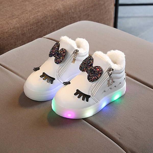 Fashionable Glitter Bowknot and Big Eyes Decor Fleece-lining LED Flat Shoes