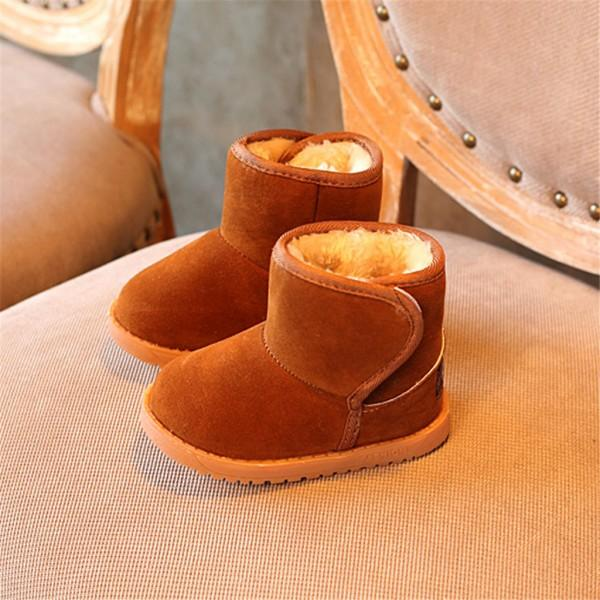 Causal Solid Fleece-lining Velcro Snow Boots