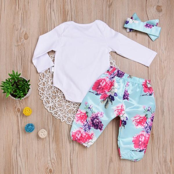 3-piece Sweet Floral Long Sleeves Bodysuit, Pants and Headband Set for Baby Girls