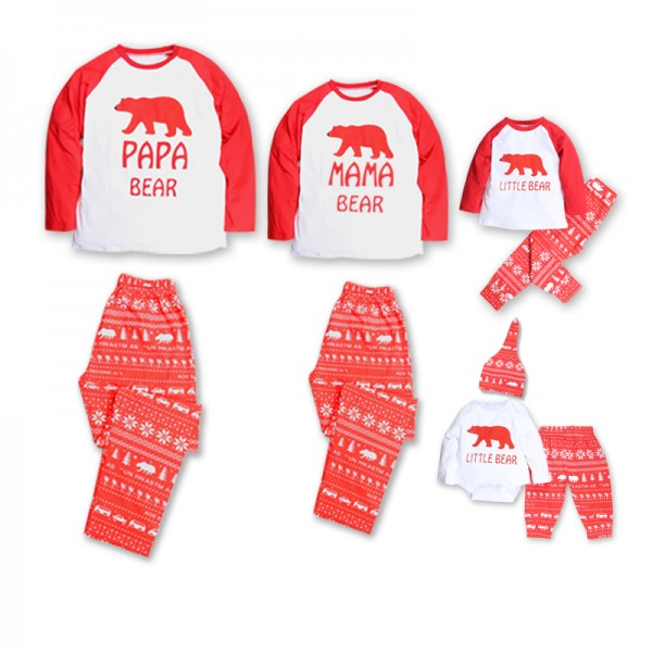Cheerful Letter Print Bear Graphic Pajamas Set for Family