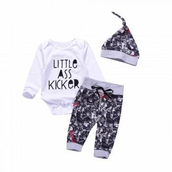 3-piece Letter Print White Bodysuit, Printed Pants and Hat for Baby