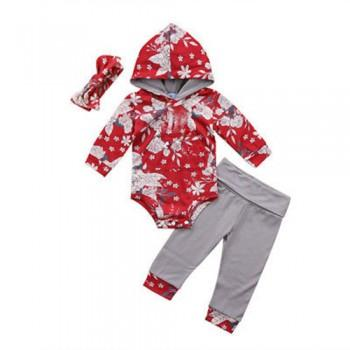 Flower Print Hooded Bodysuit and Pants Set with Hairband for Baby Girls
