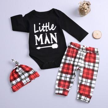 """Little Man"" Print Romper, Plaid Pants and Hat Set for Boys"