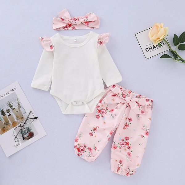 Baby Girl's Sweet Long Sleeve Bodysuit, Floral Printed Pants and Headband Set