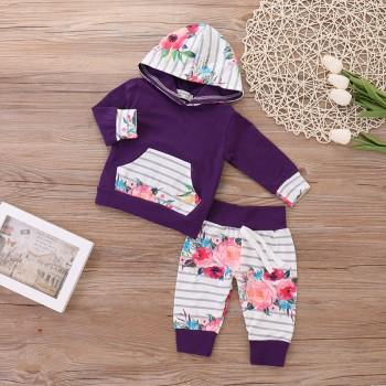 Baby Girl's Floral Printed Long Sleeve Hoodie Pants Set in Purple