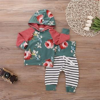Pretty Floral Hooded Top and Striped Pants Set for Baby Girl