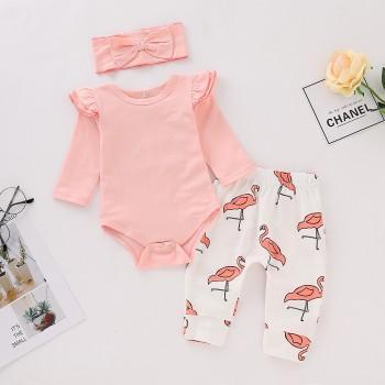 3 piece cute ruffle sleeves bodysuit flamingo print pants and headband for baby girl