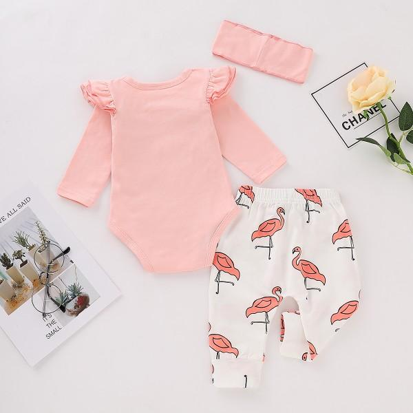 3-piece Cute Ruffle Sleeves Bodysuit, Flamingo Print Pants and Headband for Baby Girl